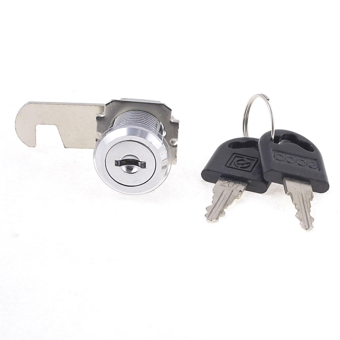19mm x 20mm Thread Cabinet Mailbox Drawer Quarter Turn Cam Lock Silver Tone