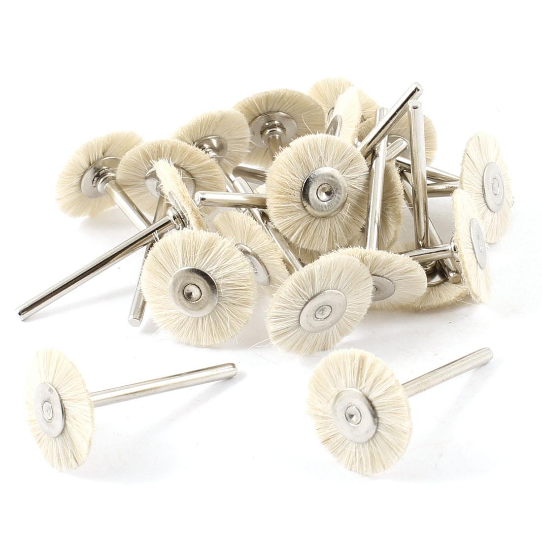 10 Pairs T Shaped Beige Nylon Metal Shank Polishing Brush Wheel