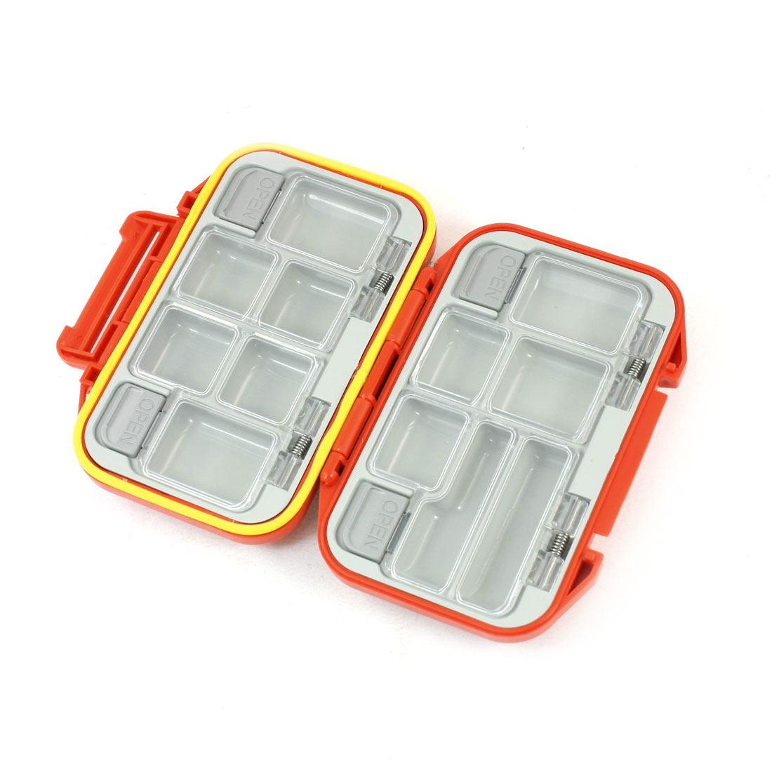 12-Compartments Hard Plastic Fishing Hook Box Container Orange Red