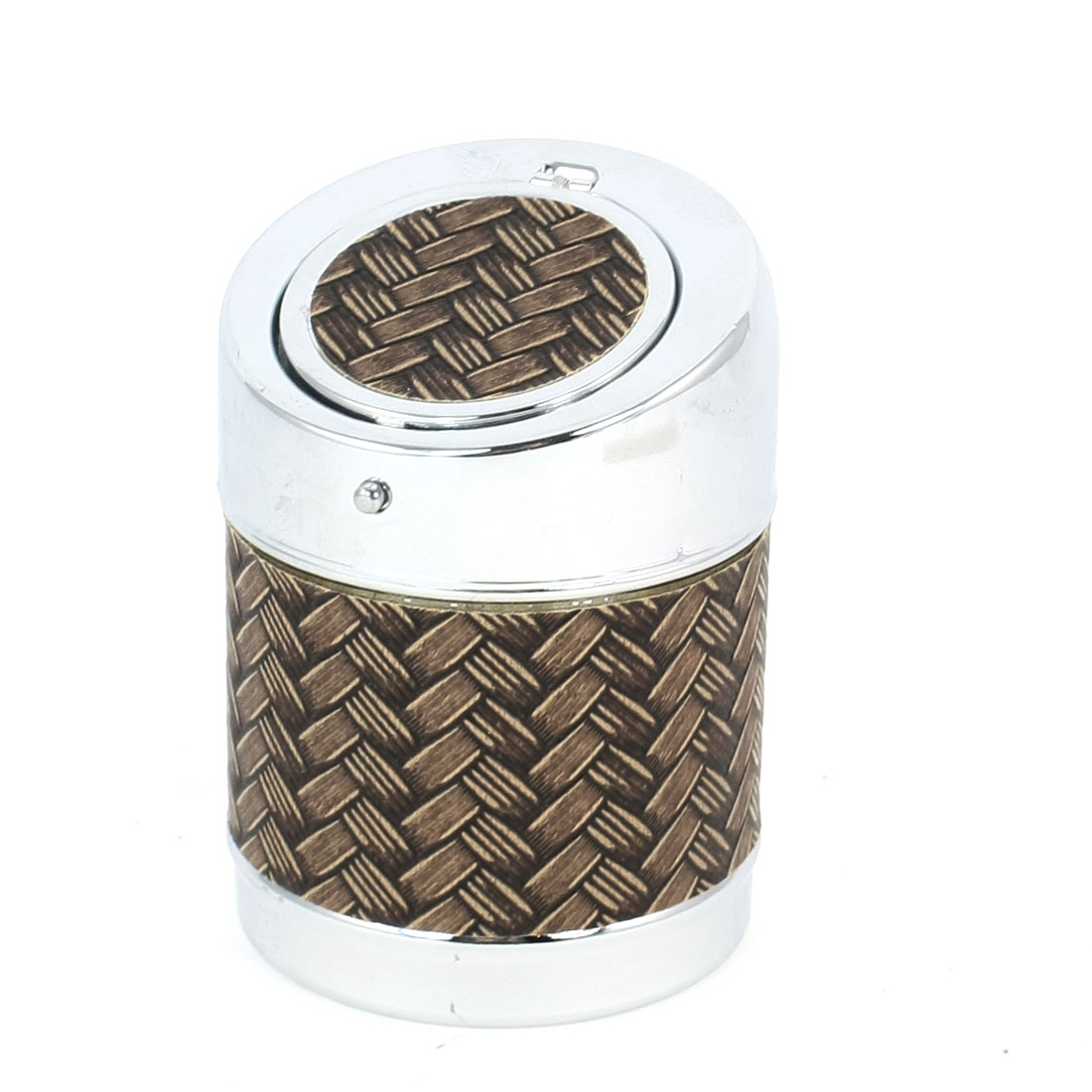 Household 9.5x6.5cm Brown Braided Pattern Cigarette Ash Case Ashtray
