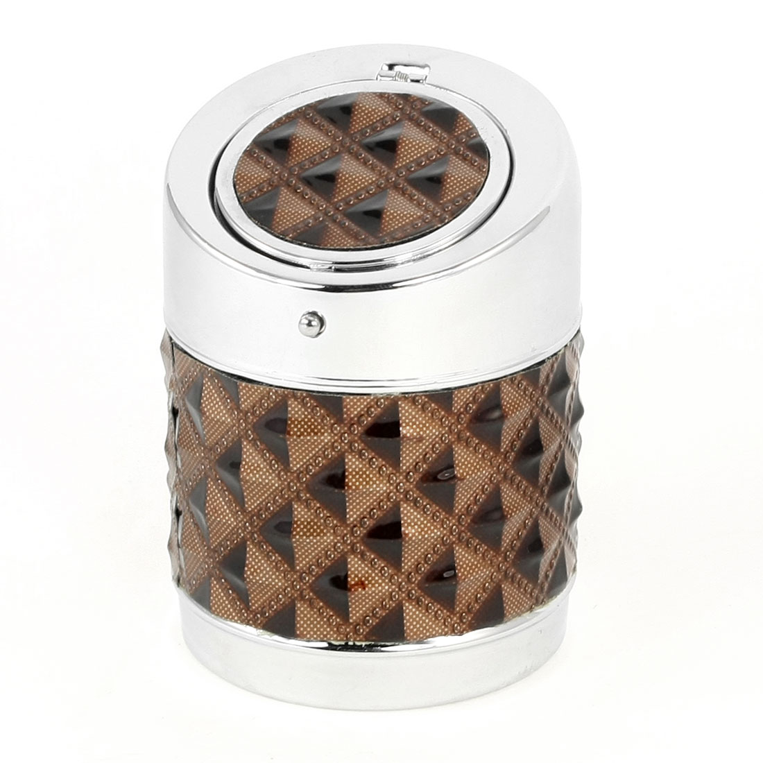 Brown Checked Pattern Round Cigar Ash Holder Container Ashtray