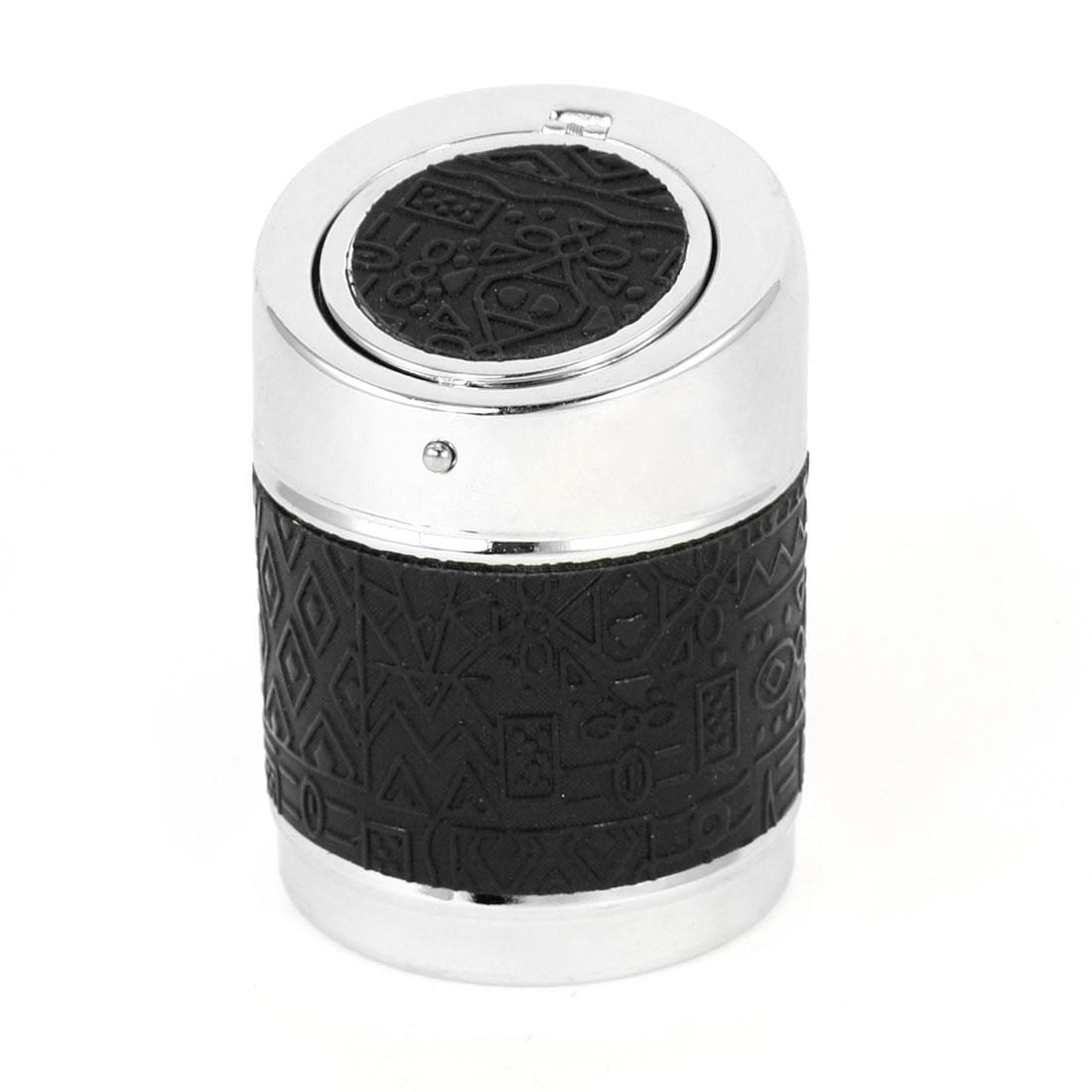 Black Irregular Pattern Round Cigar Ash Holder Container Ashtray