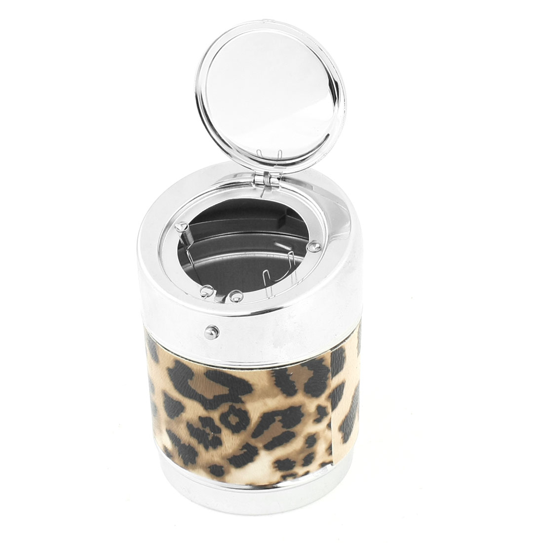 9.5x6.5cm Leopard Pattern Stainless Steel Ash Holder Box Ashtray