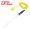 K Type 0-1100C Degree 147mm x 2mm Thermocouple Probe Temperature Sensor