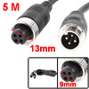5M Black 4 Pin Connector Male/Female Power Cable for Car Monitor System