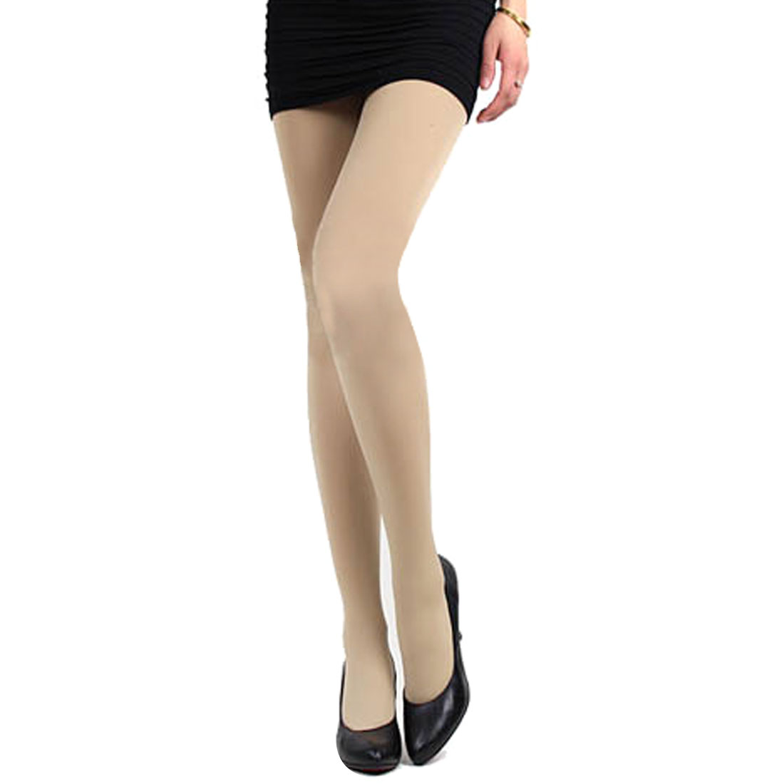 Women Elastic Waist Inner Fleece Thick Footed Pantyhose Tights Beige XS