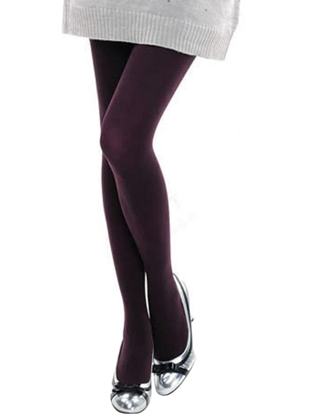 Ladies Korea Style Stretch Waistband Soft Warm Pantyhose Legging Burgundy XS