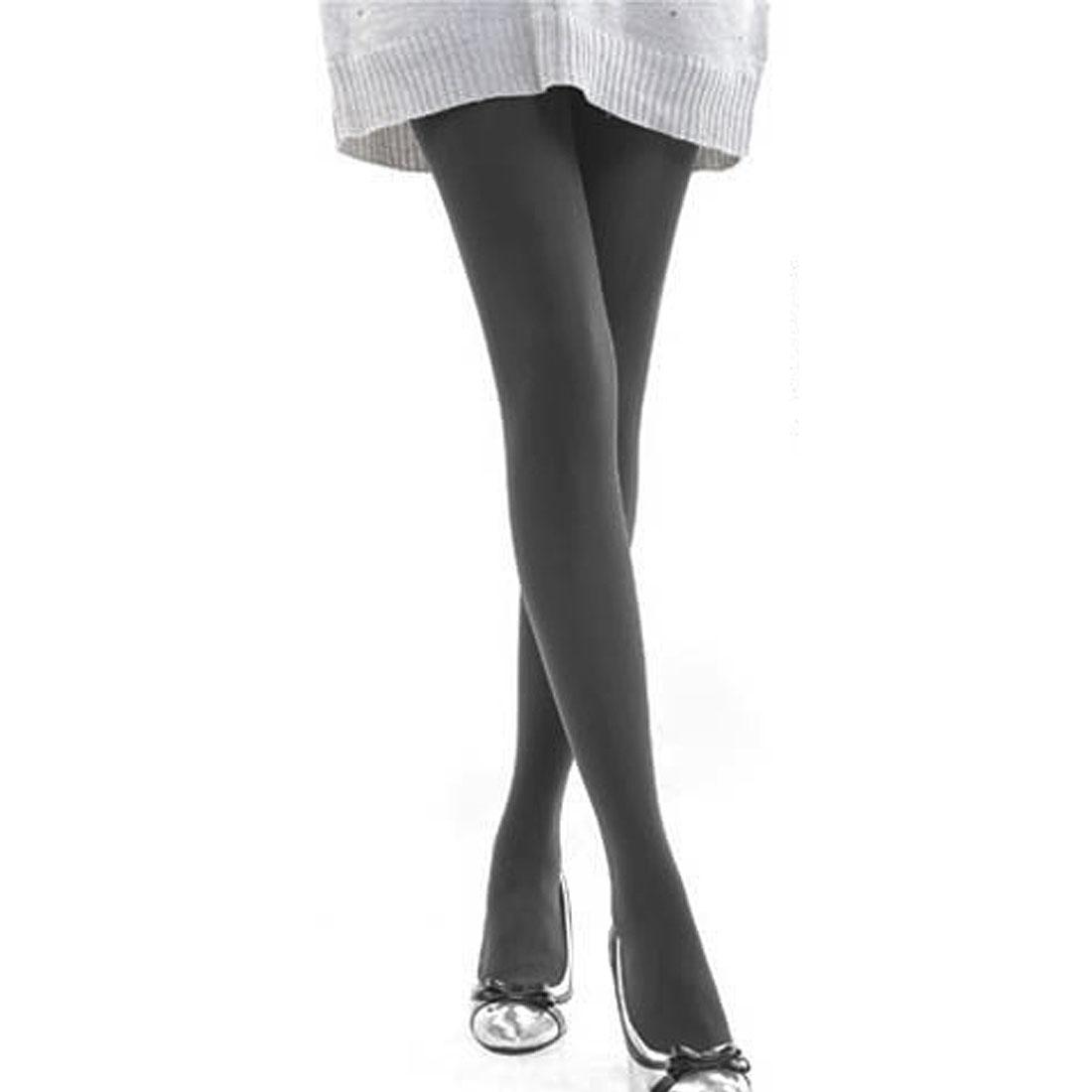 Ladies Korea Style Stretch Waistband Soft Warm Pantyhose Legging Dark Gray XS