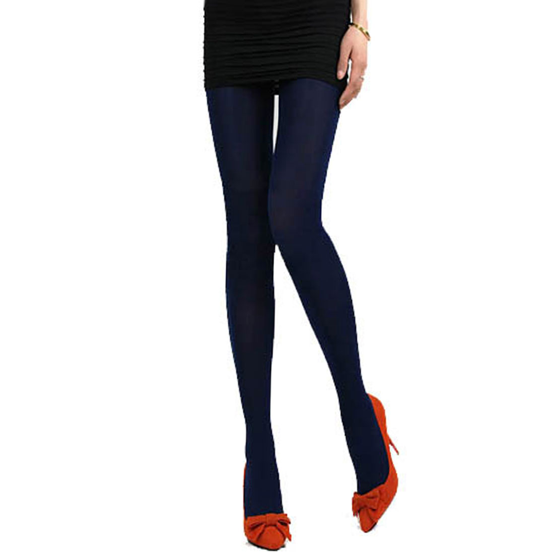 Woman Dark Blue Slim Fit Stretchy Winter Leggings Footed Pantyhose Pants XS