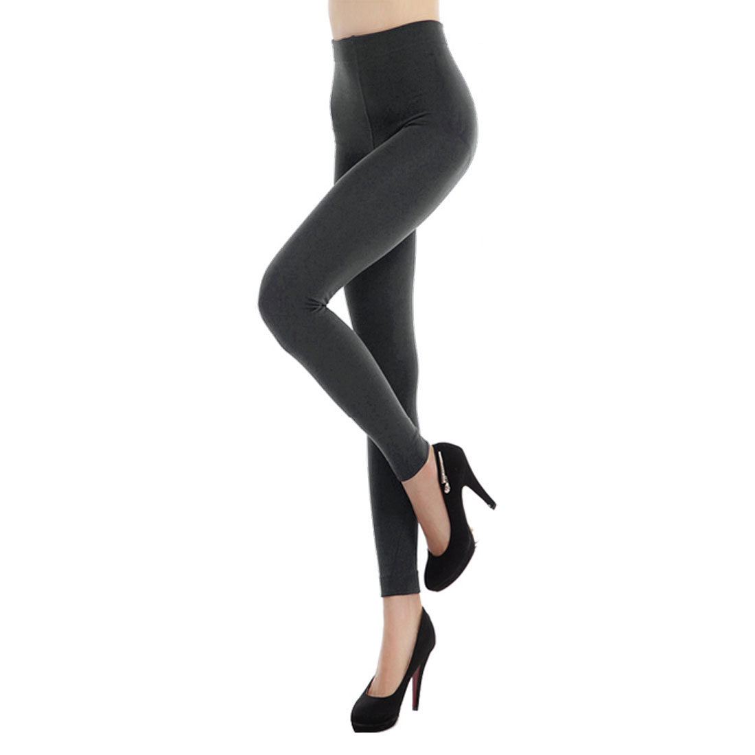 Woman Dark Gray Elastic Waist Tight Fitting Inner Fleece Pantyhose Leggings XS