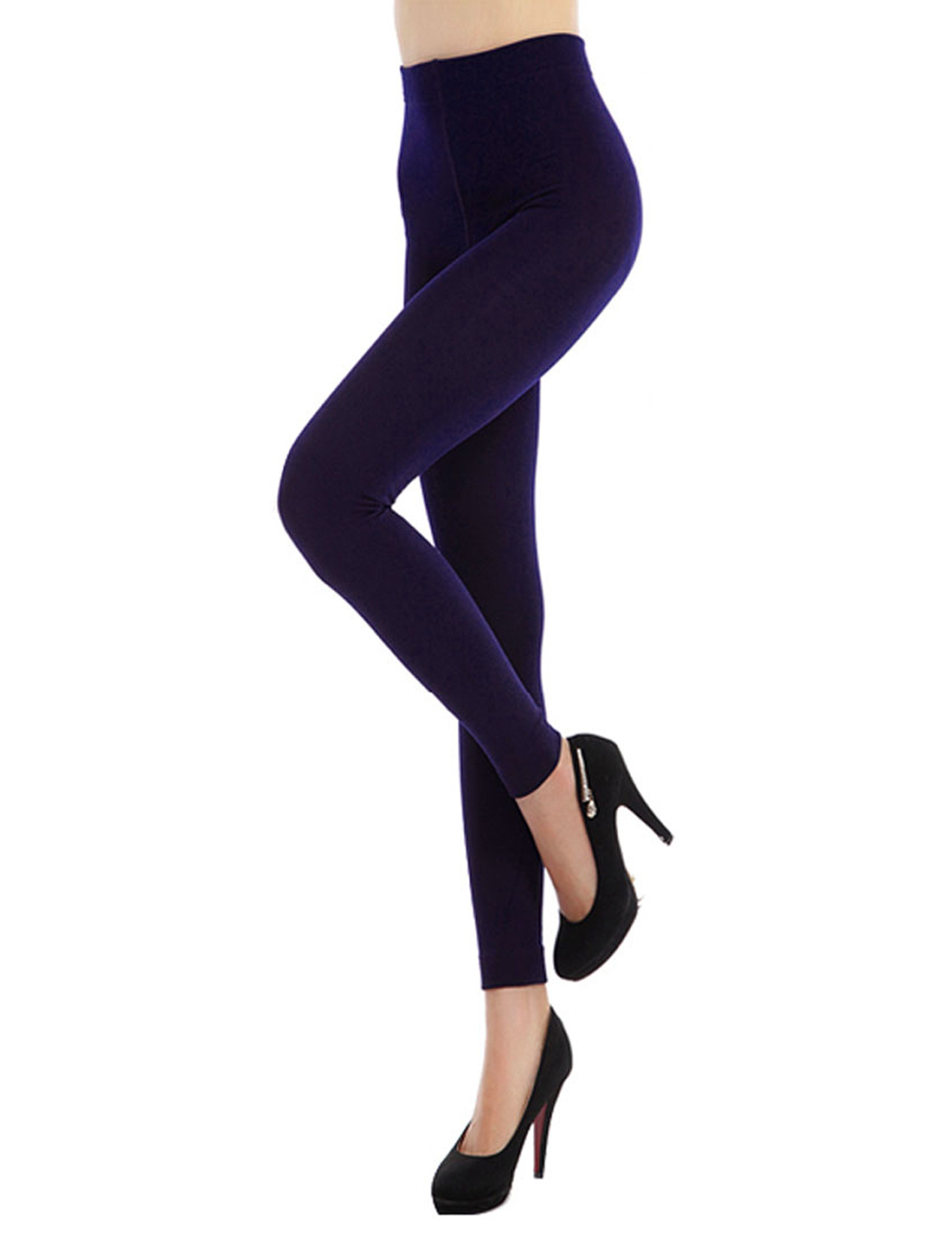 Slim Fit Stretchy Winter Warm Leggings Pantyhose Tights Purple XS for Women