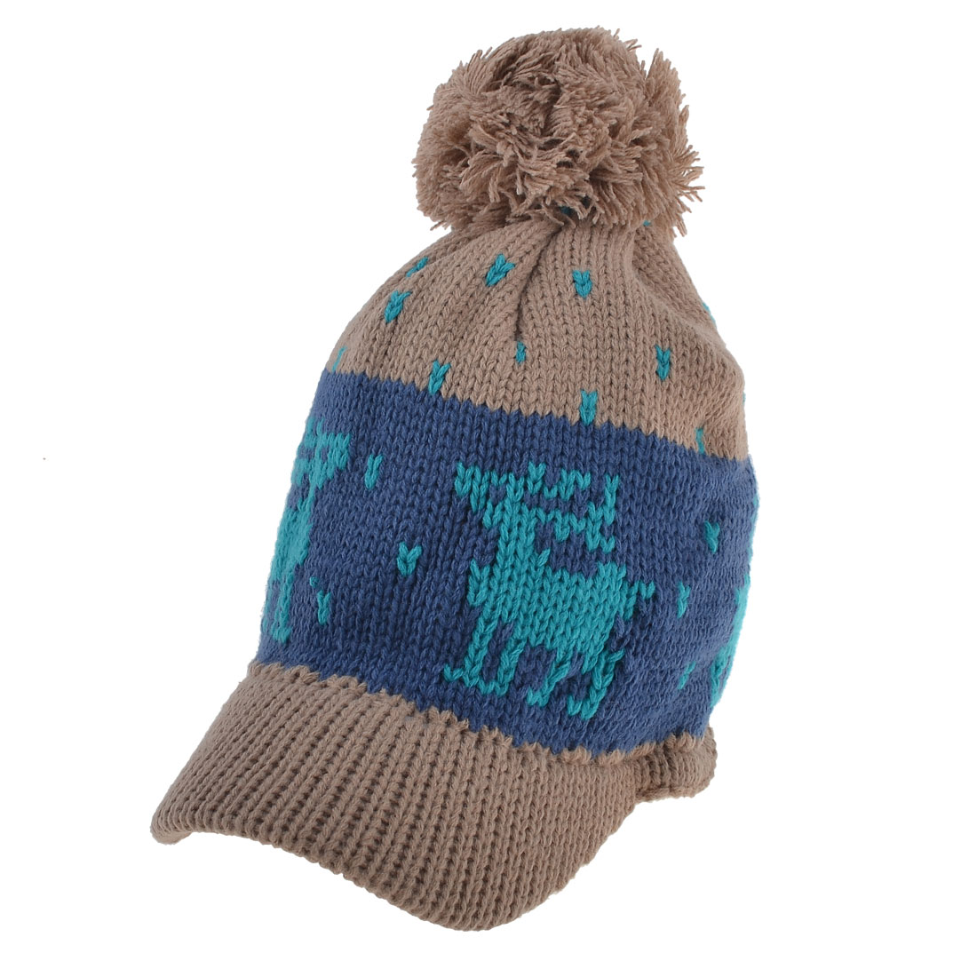 Women Front Visor Hand Ribbed Elk Print Knitting Baseball Cap Brown Green Blue