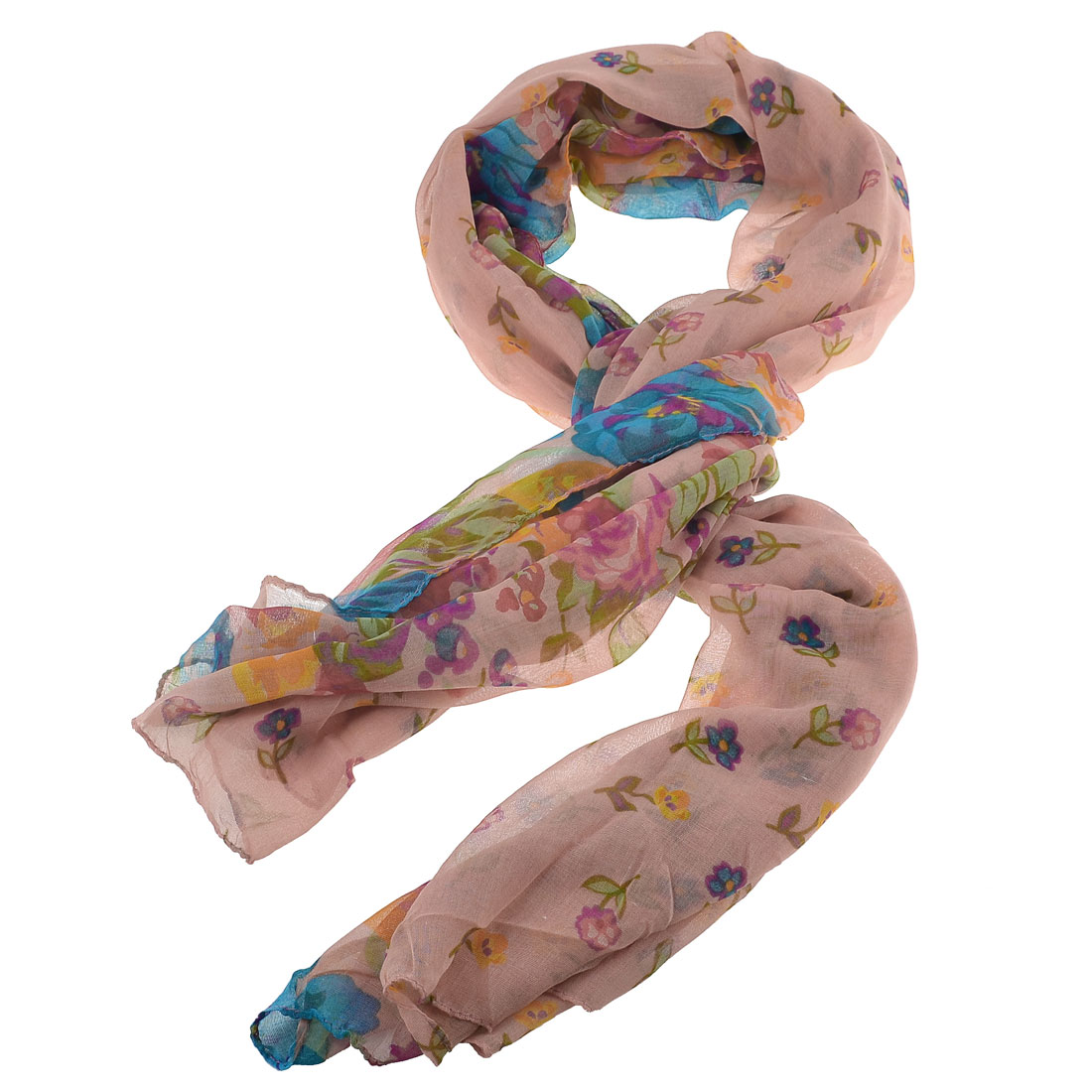 Colorful Flowers Print Countryside Style Pink Gauze Scarf Shawl for Ladies