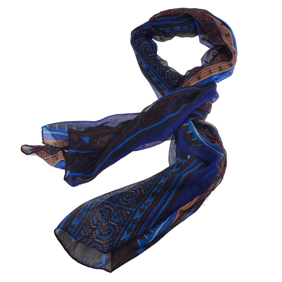 Women Soft Gauze Zigzag Pattern Long Scarf Shoulder Wrap Shawl Blue Brown