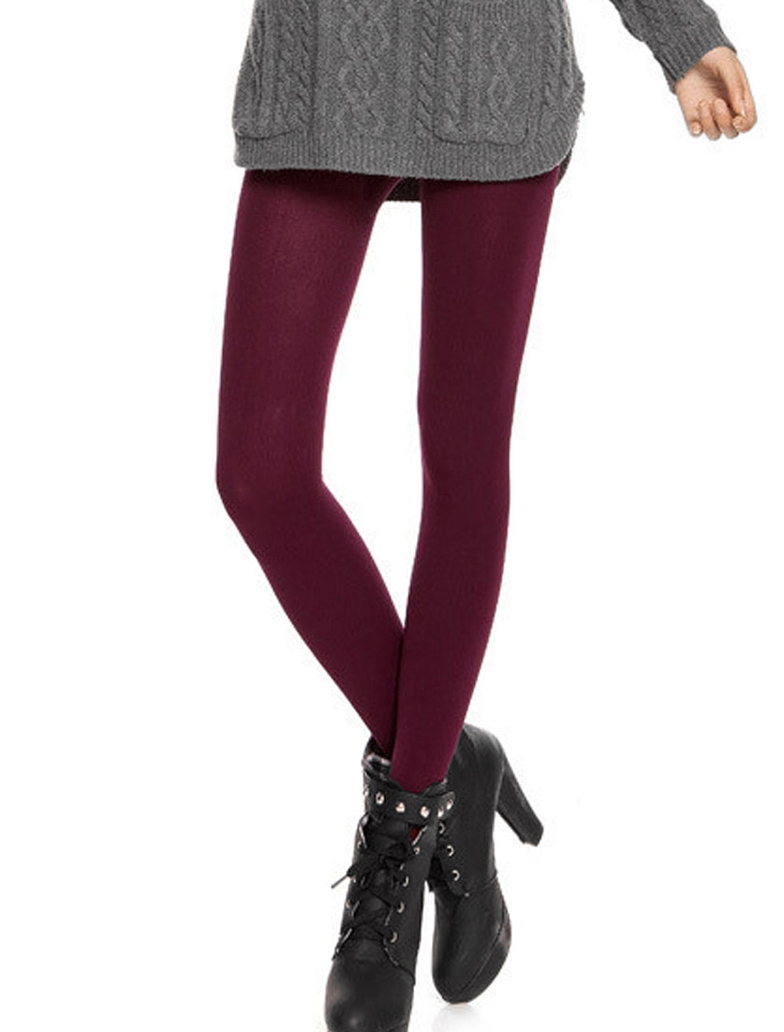 Women Korea Style Elastic Waistband Stirrup Pantyhose Leggings Burgundy XS