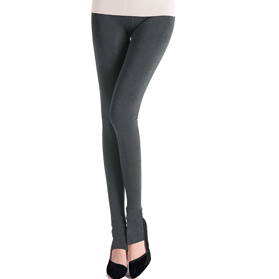 Woman Stretch Waist Inner Fleece Thick Dark Gray Stirrup Pantyhose Tights XS
