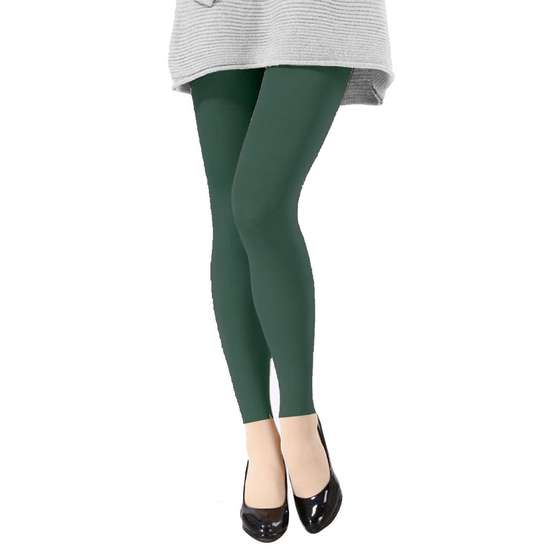Ladies Slim Fit Stretchy Winter Leggings Stirrup Pantyhose Pants Dark Green XS