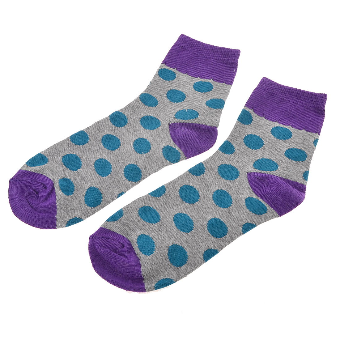 Pair Teal Green Polka Dots Print Gray Stretch Ankle High Hosiery Socks for Woman