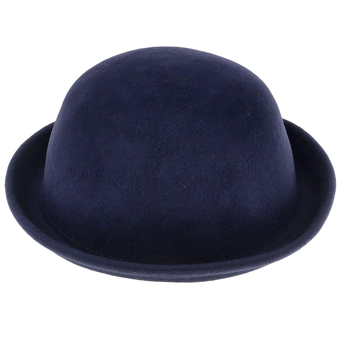 Woman 4.5cm Width Brim Easy Matching Wood Felt Cloche Hat Royal Blue M