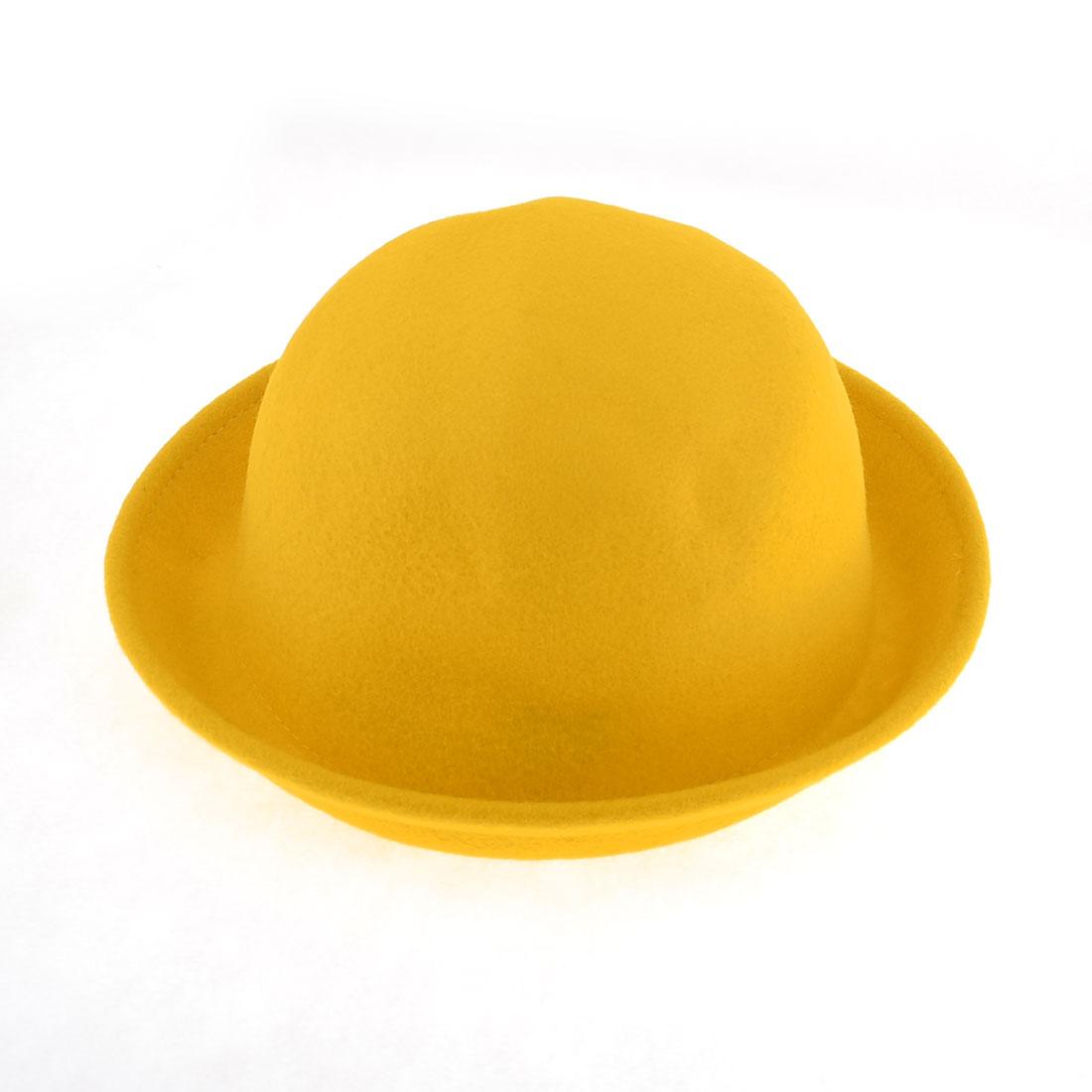 Ladies Autumn Winter Korea Style Solid Yellow Fedora Hat Cap Size M