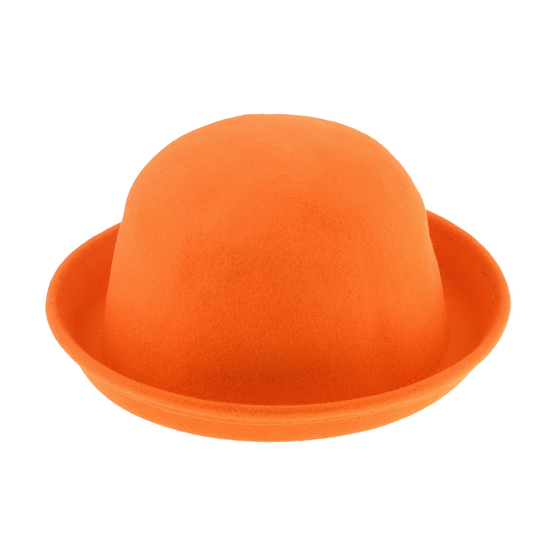 Pure Orange Wool Fedora Trilby Rolled Brim Bowler Hat M for Women
