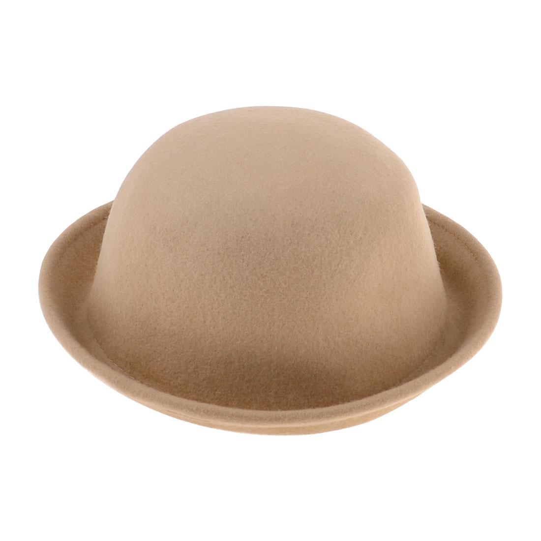 Ladies Autumn Winter Korea Style Solid Beige Fedora Hat Cap Size M