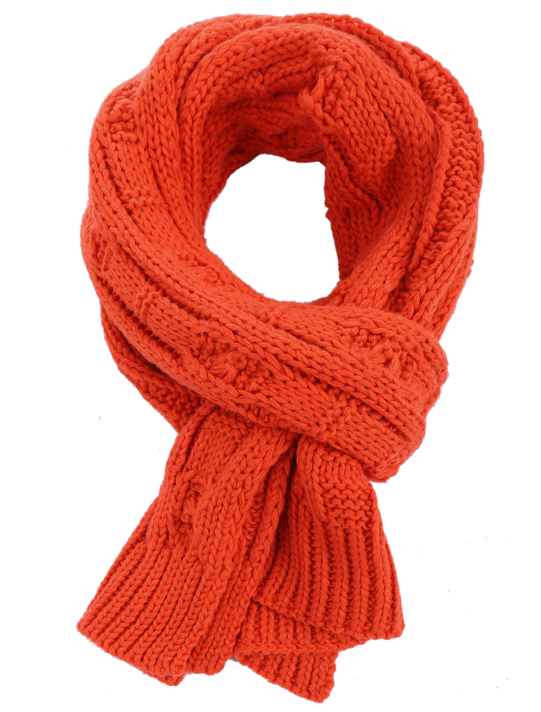 Man Fashionable Knitting Elastic Braided Orange Red Scarf