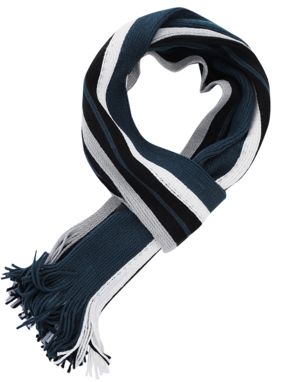 Men Women Fashion Design Tassels Hem Navy Blue White Knit Scarf