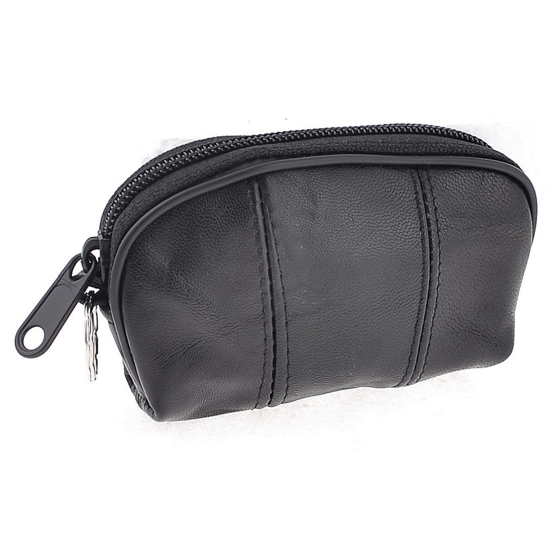 Woman Portable Black Faux Leather Zippered Money Coin Purse w Keyring