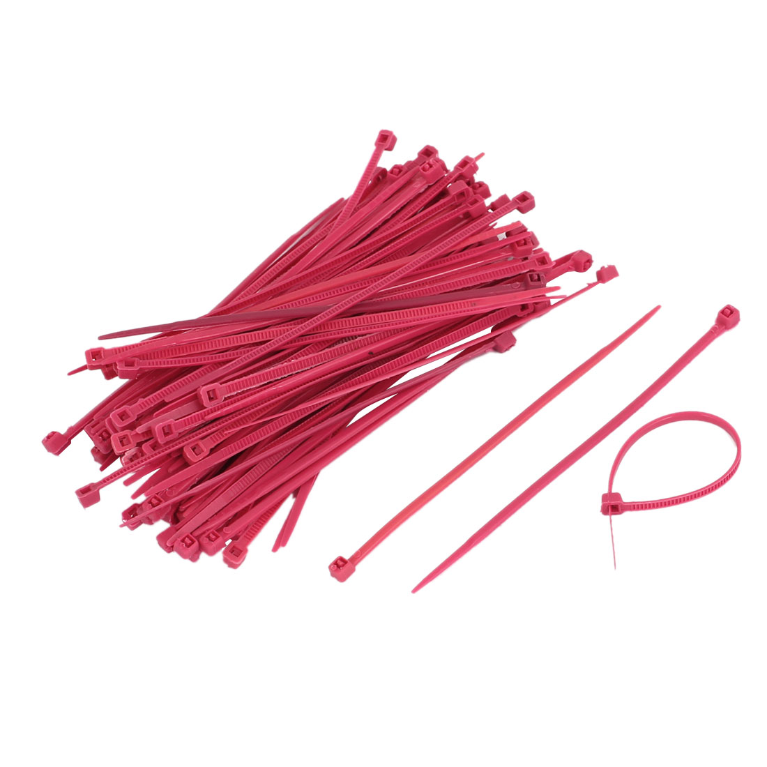 100 Pcs Adjustable Self Locking Nylon Cable Zip Ties Amaranth 2.5mm x 100mm