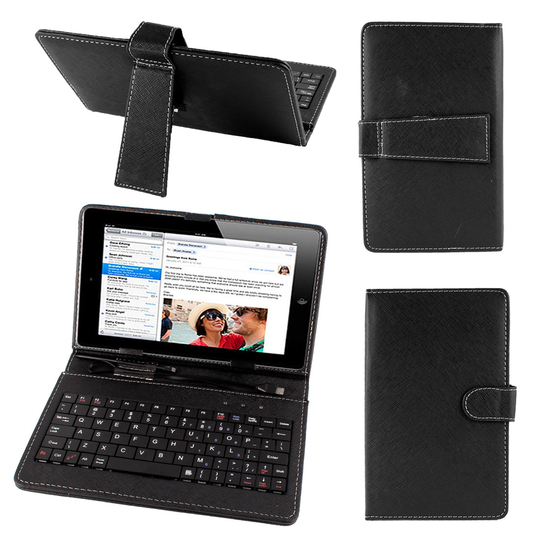 "Black Faux Leather Stand Case Cover Micro 5pin USB Keyboard for 7"" Tablet PC"