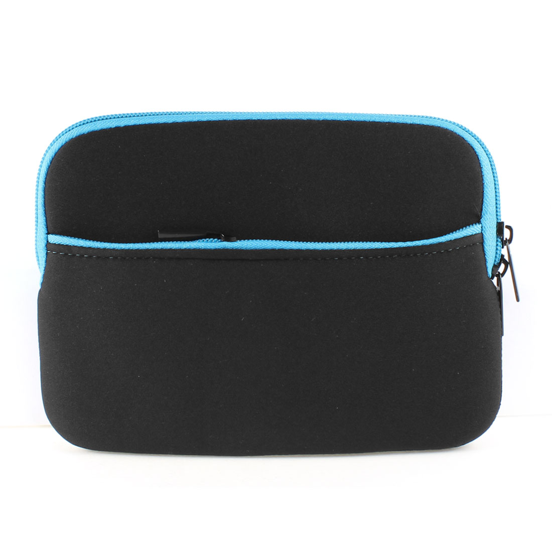 "Zipped Blue Brim Black Neoprene Sleeve Bag Case Protector for 7"" Tablet Laptop"