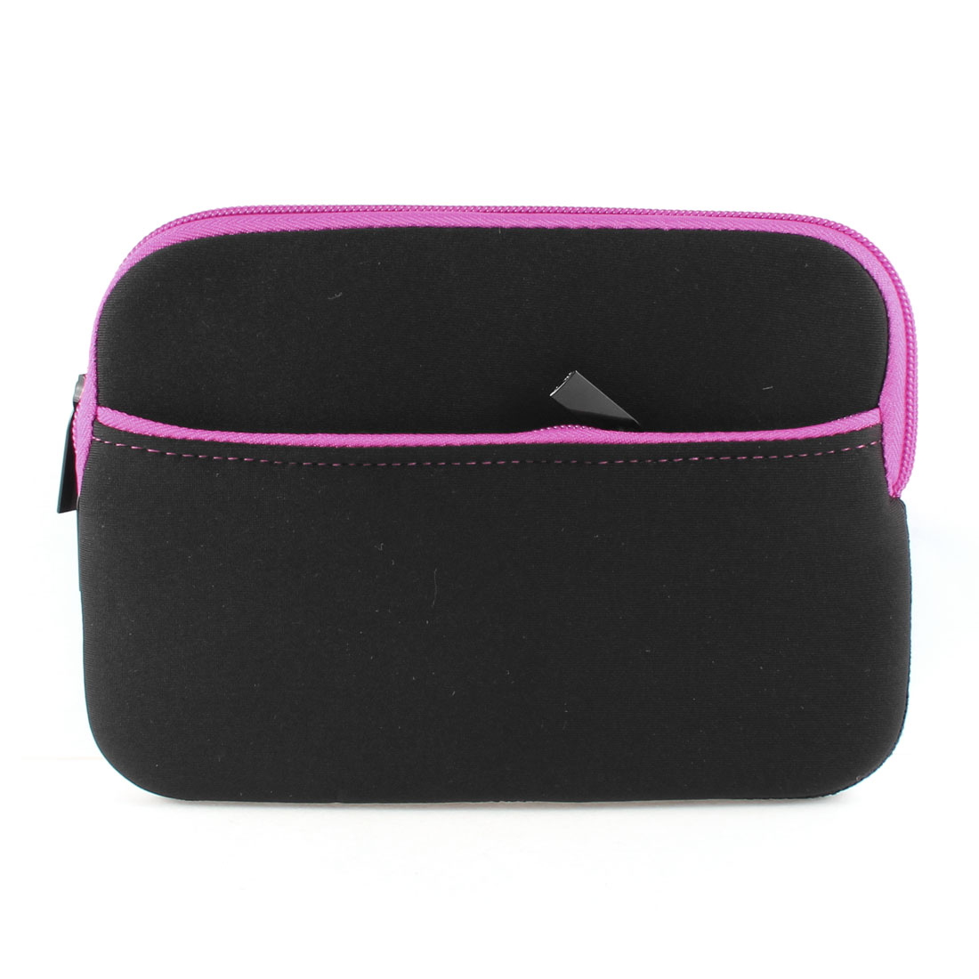 "Zipped Neoprene Sleeve Bag Case Protector Fuchsia Black for 7"" Tablet Laptop PC"