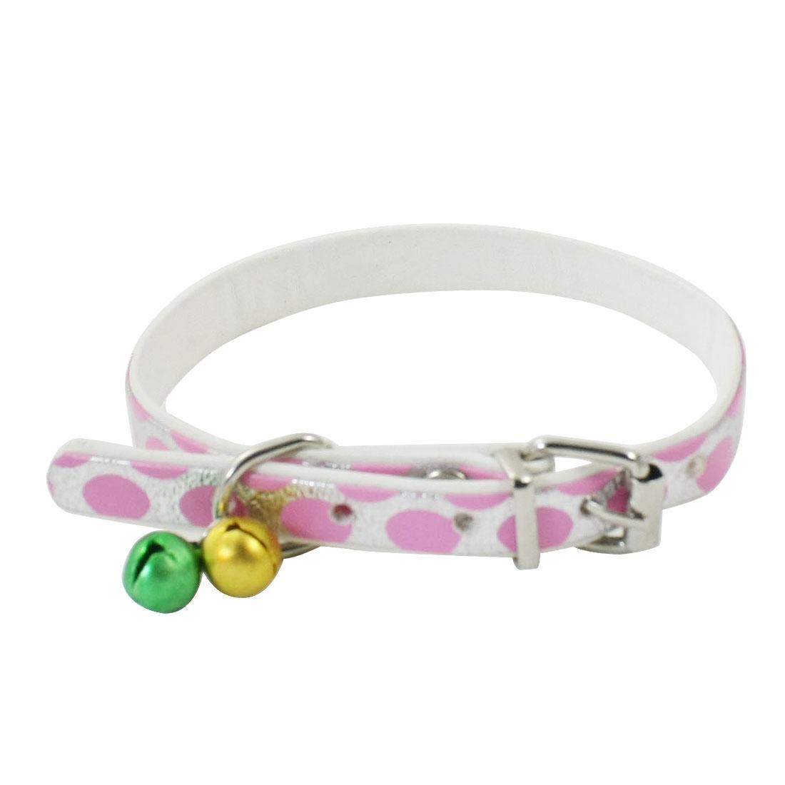 Single Pin Buckle Belt Jingle Bell Cat Dog Pets Neck Collar Pink Silver Tone