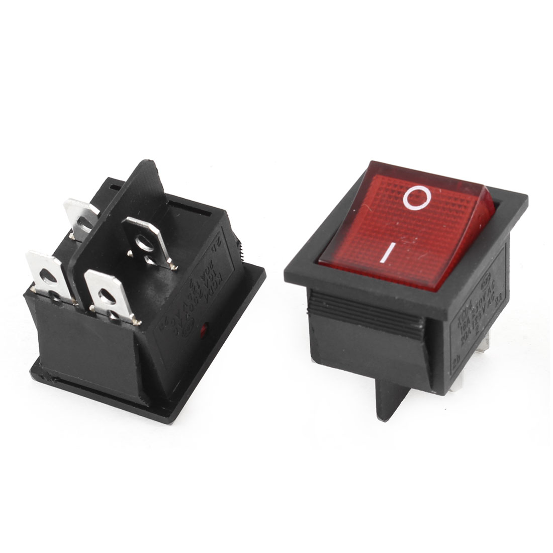 2 Pcs DPST ON-OFF 4 Pin Red Light Rocker Boat Switch 16A/250V 20A/125V AC