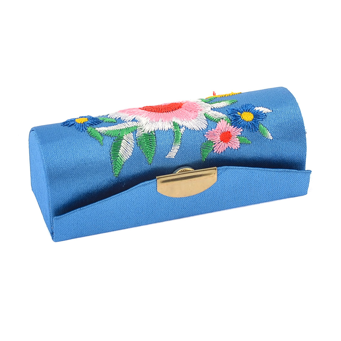 Dark Blue Mirror Adhesive Flower Embroidery Lipstick Case Box