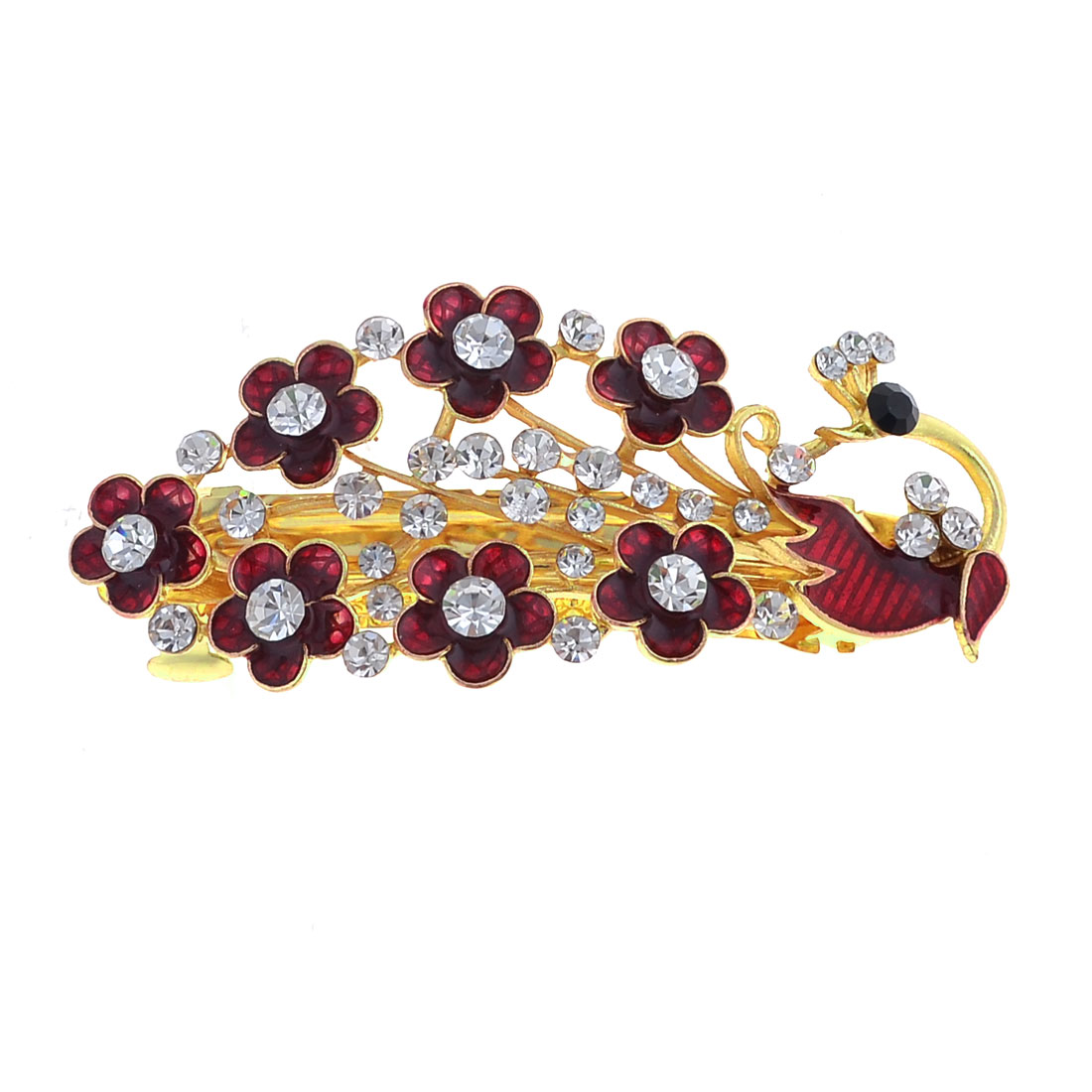 Lady Dark Red Peacock Design Flower Decor Barrette French Clip