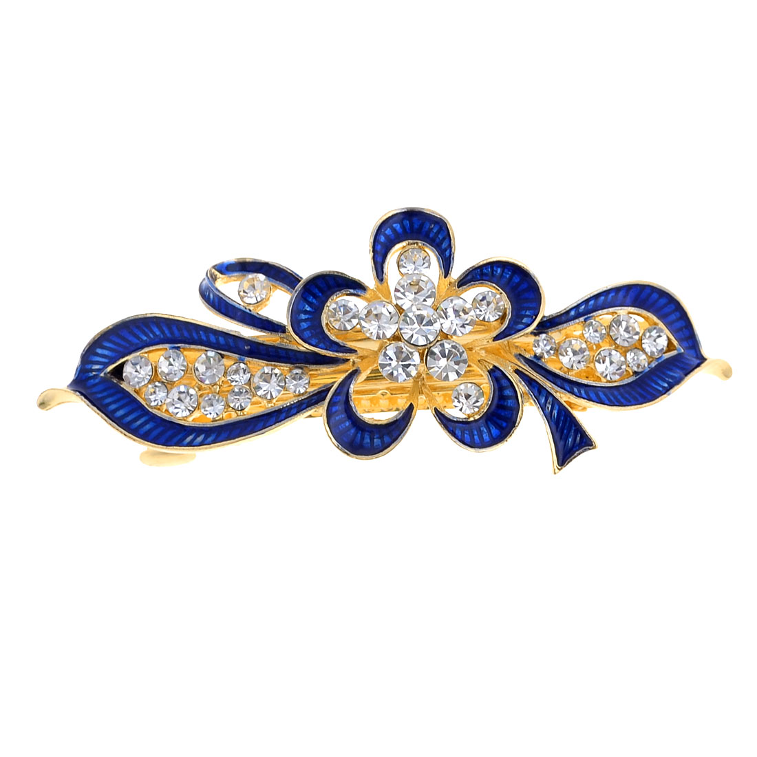 Women Metal Royal Blue Flower Design Barrette Firench Clip