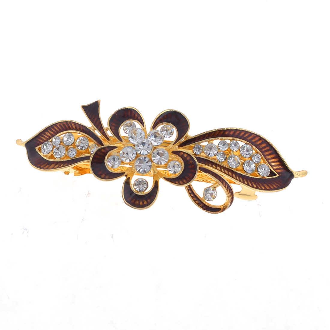 Lady Burgundy Flower Leaf Design Faux Rhinestone Inlay Gold Tone French Clip