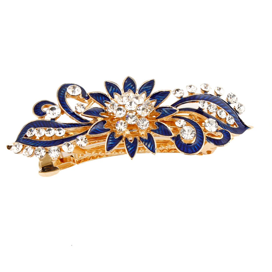 Ladies Metal Faux Rhinestone Flower Decor Barrette Hairclip French Hair Clip Dark Blue