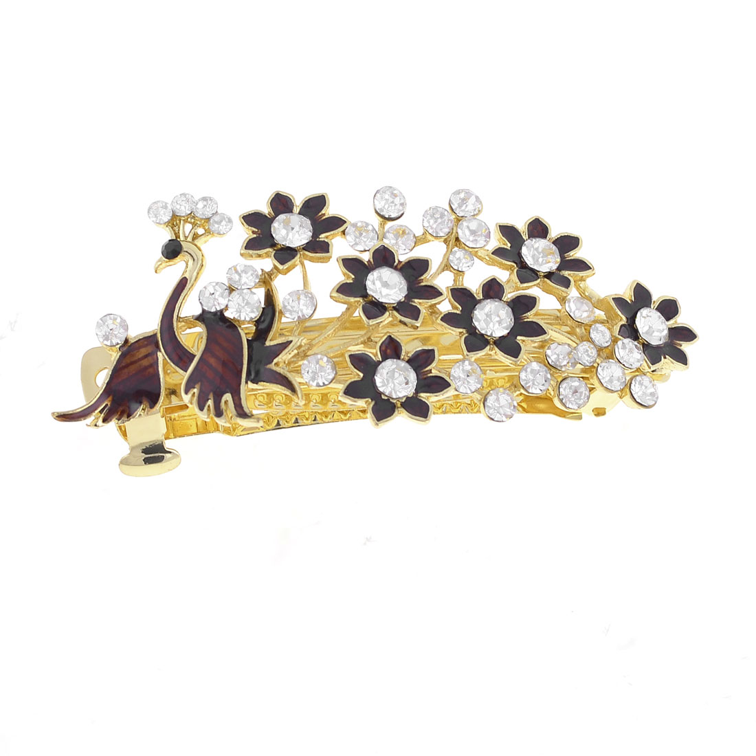 Woman Flower Shaped Glittery Rhinestone Detail Hairpin Chocolate Color