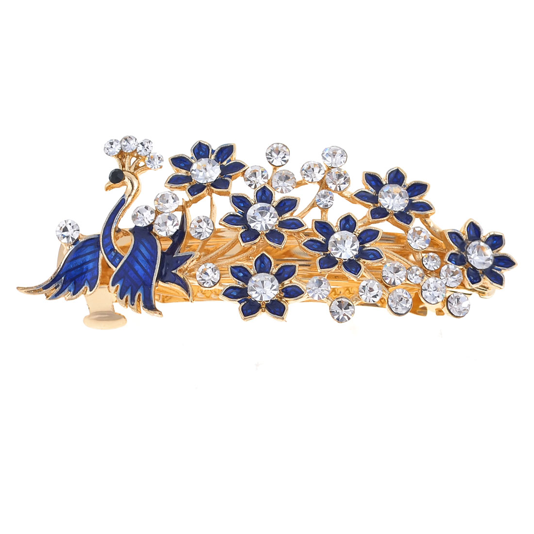 Royal Blue Flower Shaped Sparkling Rhinestone Detail French Clip Hair Barrette