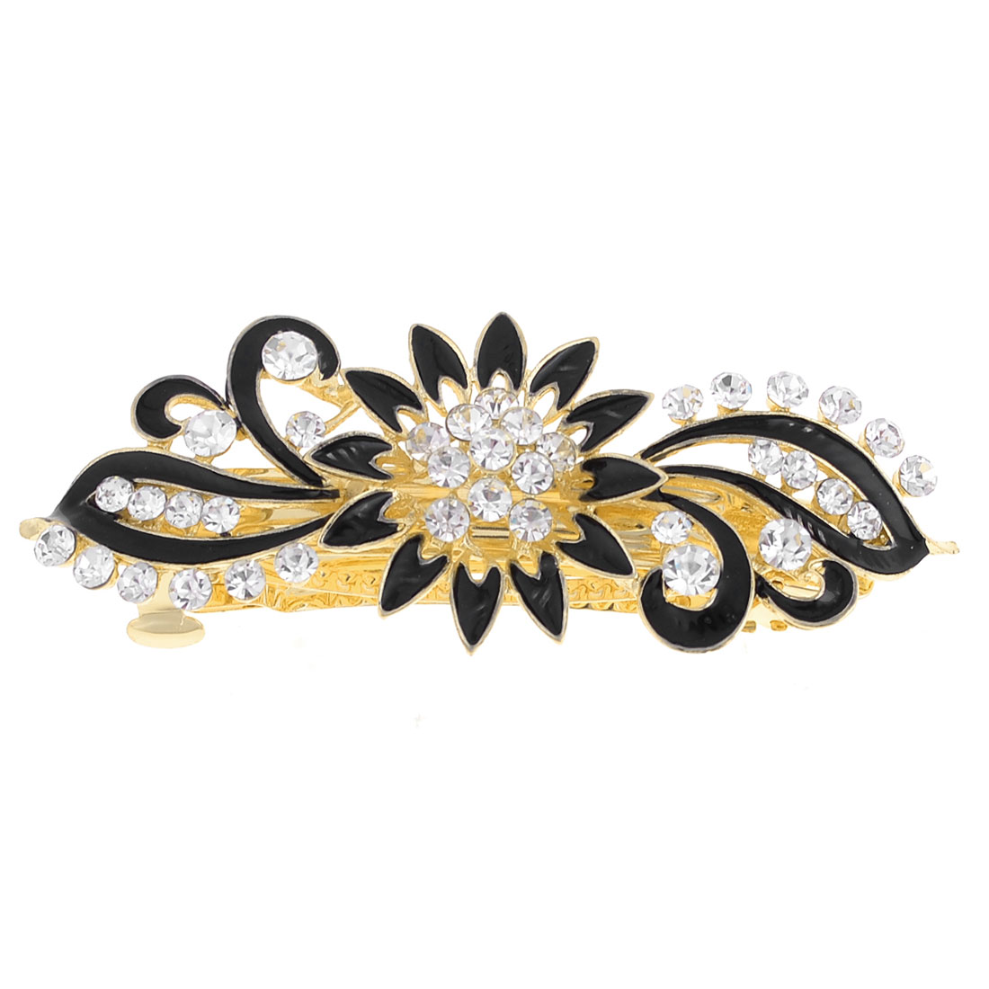 Lady Flower Shape Party Wedding Shiny Rhinestone Designed French Hair Clip Black