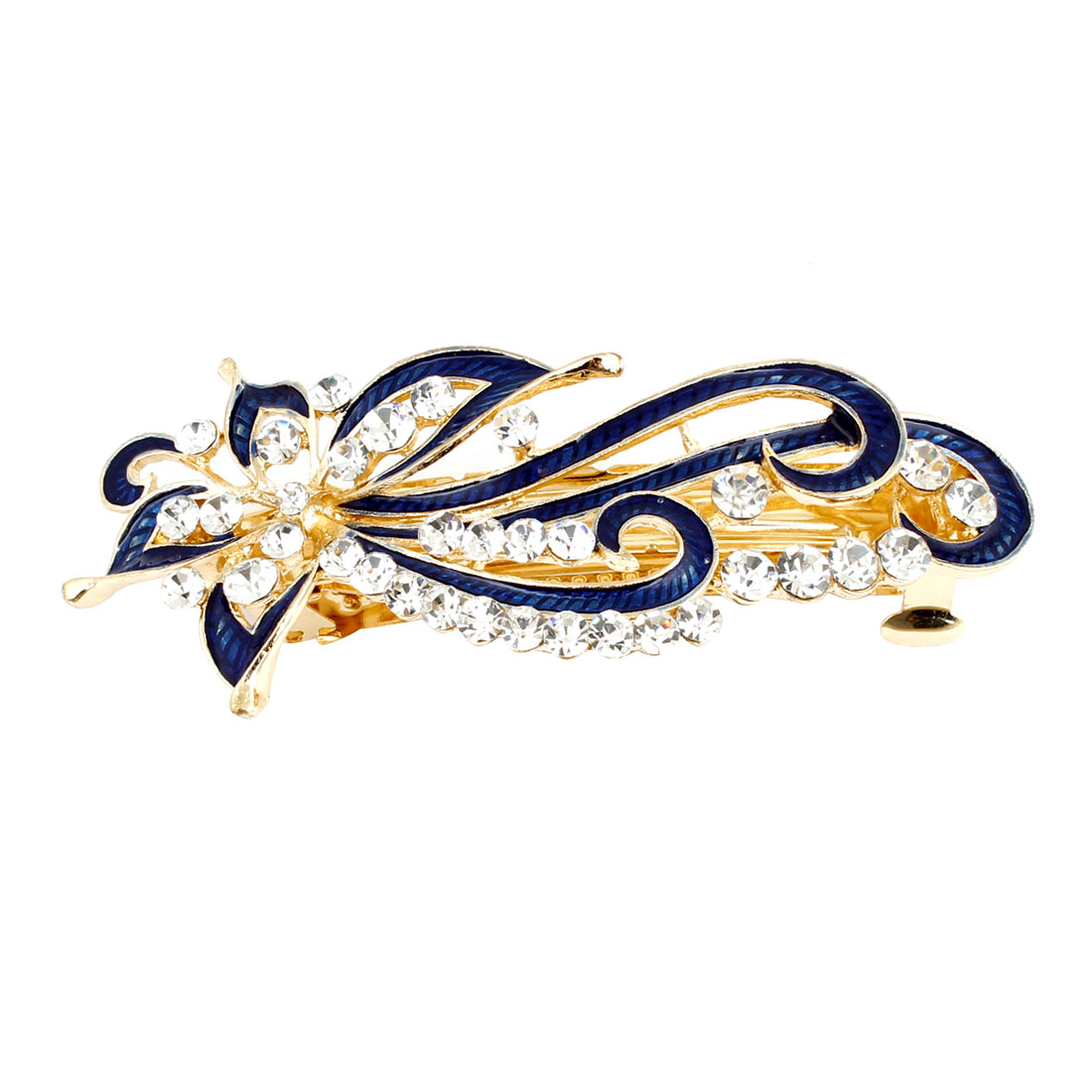Dark Blue Rhinestones Inlaid Swirl Floral Barrette French Hair Clip