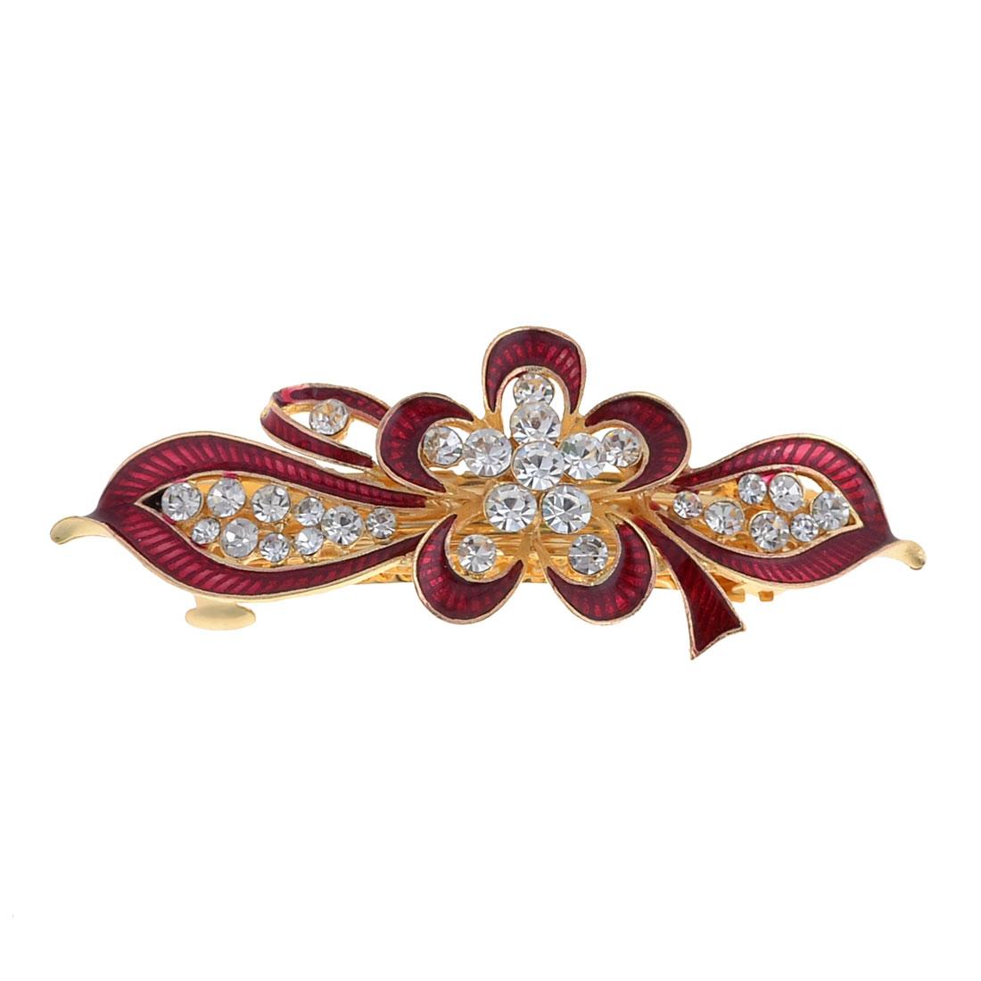 Lady Dark Red Flower Leaf Design Faux Rhinestone Inlay Gold Tone French Clip