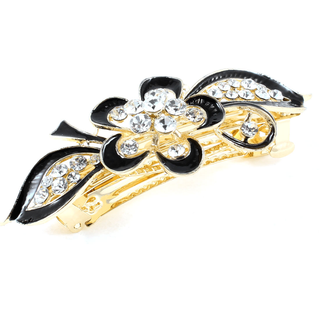 Women Gold Tone Rhinestone Ornament Floral Shaped Hair French Clip Barrette