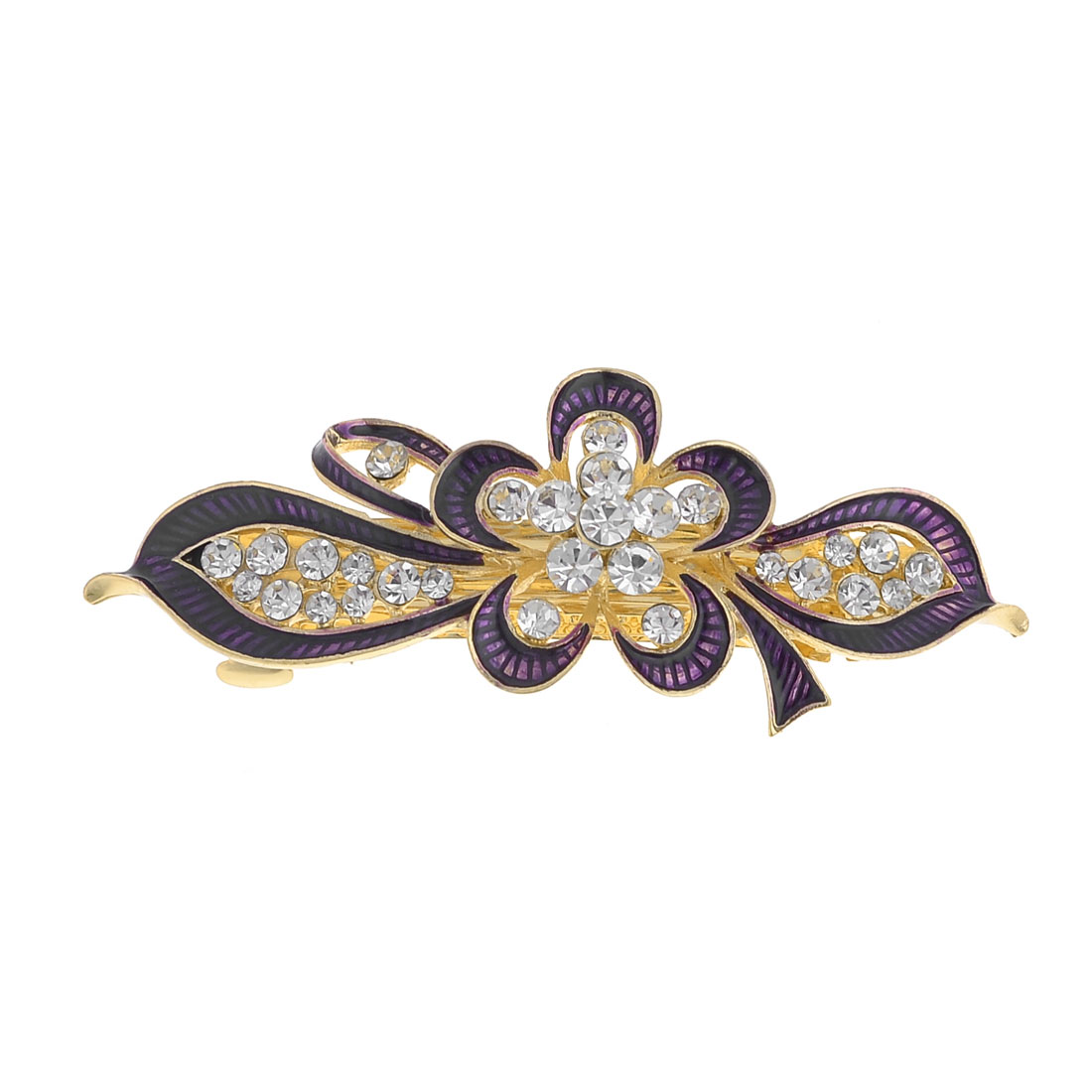 Lady Dark Purple Flower Leaf Design Faux Rhinestone Inlay Gold Tone French Clip
