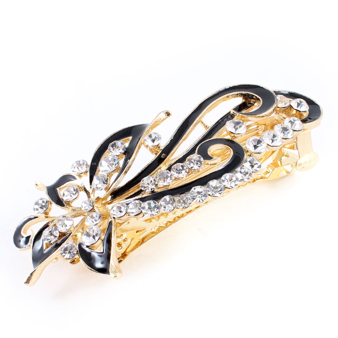 Metal Rhinestone Decor Flower Design Clip Hair French Barrette Gold Tone