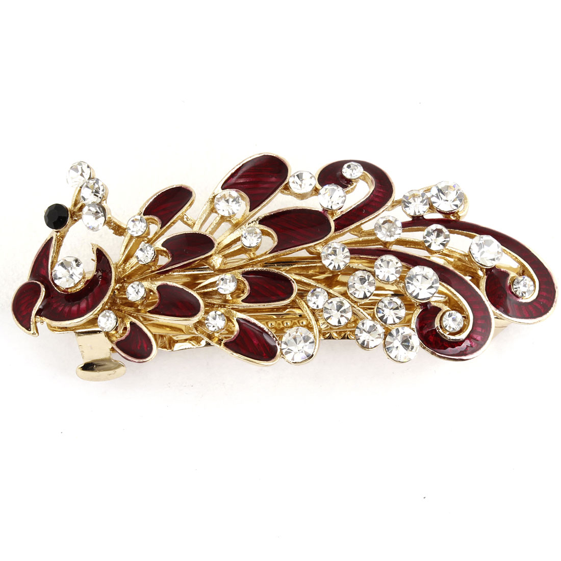 Ladies Fuax Rhinestones Inlaid French Clip Barrette Hairclip Red Gold Tone