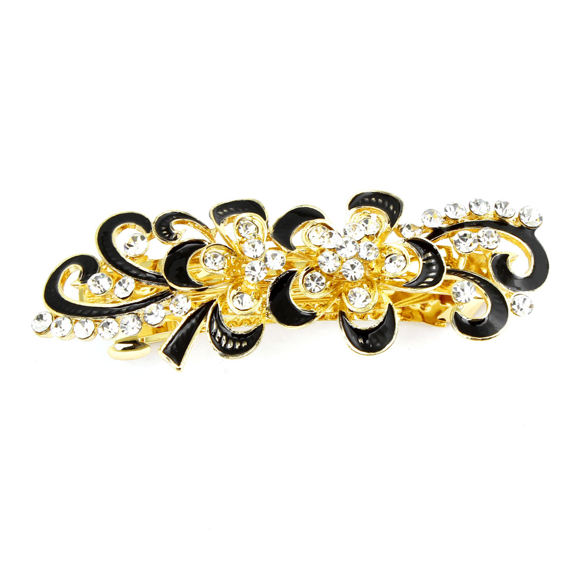 Shiny Rhinestones Detail Black Swirl Flower Hairclip French Clip